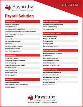 Payroll Solution Feature List