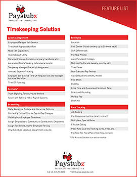 Timekeeping Solution Feature List Cover