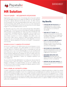 Human Resources Application Datasheet cover
